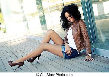 mode, svart, modell, ung, stående, kvinna