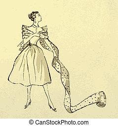 modebetonad, kvinna, bult, tyg, ung