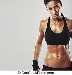 modell, bakgrund, grå, kvinnlig, fitness