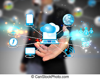 moln, holdingen, affärsman, teknologi, beräkning, begrepp