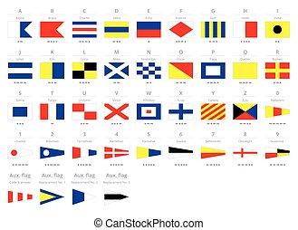 morse, alfabet, signal, isolerat, kust, internationell, bakgrund, nautisk, flaggan, vit