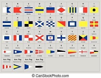 morse, alfabet, signal, kust, internationell, nautisk, flaggan