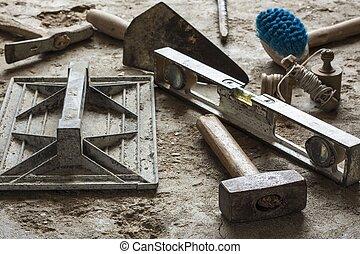 mortel, frimureri, konstruktion, redskapen, cement