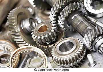 motor, bil, närbild, utrustar