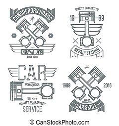 motor, bil, symboler, pistong
