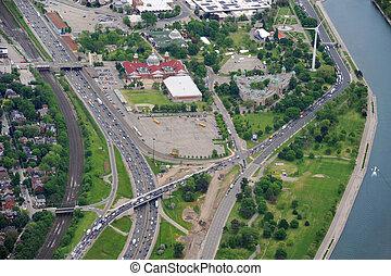 motorväg, antennen beskådar