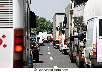 motorväg, marmelad, trafik