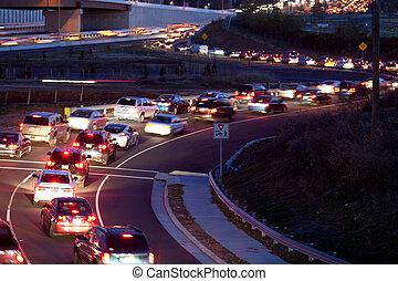 motorväg, trafik, ramp