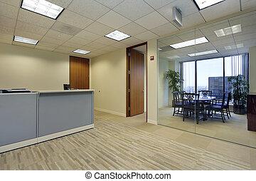 mottagande, kontor, område