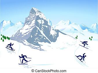 mountains, övervintra sportar
