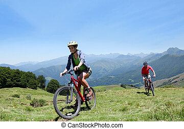 mountains, par, bicycles, ridande