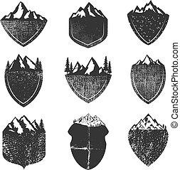 mountains, sätta, grunge, isolerat, bakgrund, vit, märken
