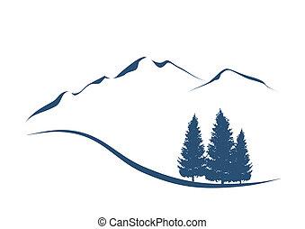 mountains, visande, illustration, stylized, granar, landskap, alpin
