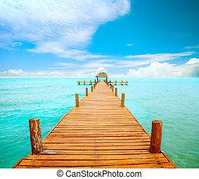 mujeres, mexico, brygga, concept., semester, isla, turism