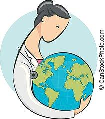 mull, flicka, ikon, illustration, läkare