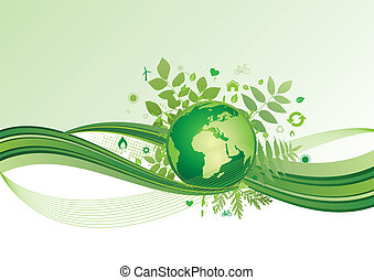 mull, miljö, grön, ba, ikon