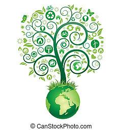 mull, träd, grön