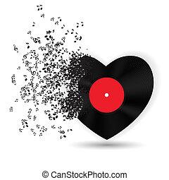 musik, noterar., vektor, kort, valentinkort, hjärta, dag, lycklig, illustration