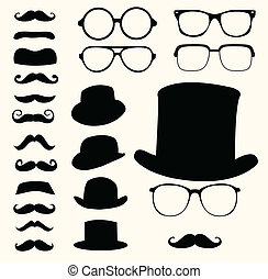 mustascher, hattar, glasögon