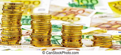 mynter, pengar, stjärnfall, båge, stack
