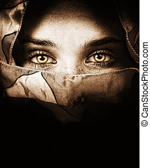 mystisk, ögon, kvinna, sensuell