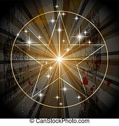 mystisk, forntida, pentagram