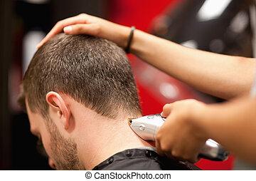 nära, ha, hårklippning, male deltagare, uppe