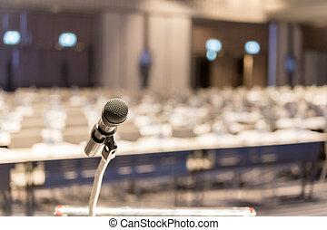 nära, salong, podium, mikrofon, uppe