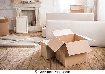 närbild, begrepp, rum, synhåll, omläggningen, rutor, papp, tom, möblemang