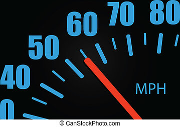 närbild, hastighetsmätare