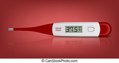 närbild, ikon, mätning, medicinsk, bakgrund., digital, elektronisk, 3, visande, främre del, °c, realistisk, feber, röd, termometer, mall, synhåll, design, 37.5., vektor, temperature.