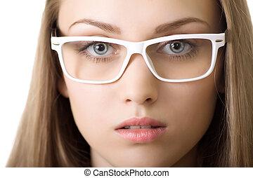 närbild, womanaffär, isolerat, yound, glasögon