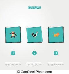 nät, din, lejon, design., ikonen, annat, stil, apa, mobil, lägenhet, djur, symboler, logo, sätta, tupp, app