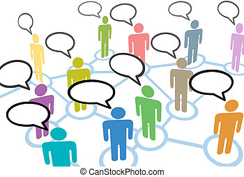 nätverk, folk, kommunikation, anslutningar, anförande, social, prata