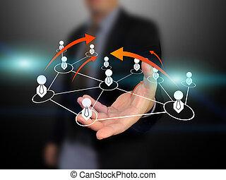 nätverk, holdingen, social, affärsman