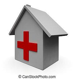 nödläge, läkar hälsovårdscentral, ikon, sjukhus, visar
