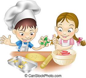 nöje, ha, två, kök, barn