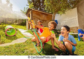 nöje, vatten gevär, trädgård, sprinkler, slang