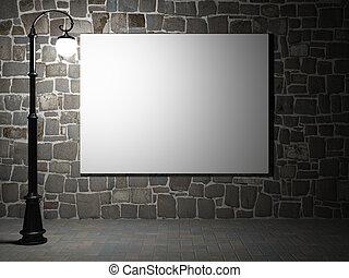 natt, tegelsten vägg, affischtavla, tom