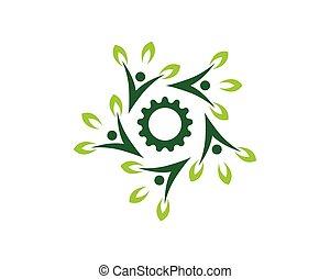 natur, folk, vektor, hälsa, mall, logo