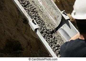 nedåt, spring, cement