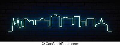 neon, horisont, city., bloemfontein, blå