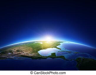 norr, över, molnfria, mull, amerika, soluppgång