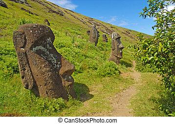 nui, moai, påsk ö, rapa