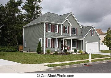nyligen, kompletterat, hus, bostads
