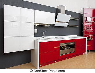 nymodig, röd, kök, dekoration, inre