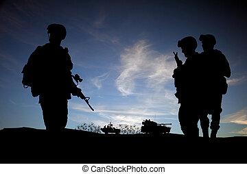 nymodig, silhuett, medel, sky, mot, mitt, solnedgång, bakgrund, tjäna som soldat, öster, dag