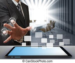 nymodig teknik, arbete, affärsman