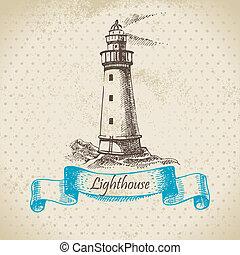 oavgjord, lighthouse., illustration, hand