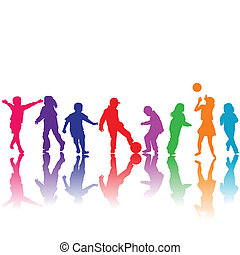 oavgjord, silhouettes, hand, leka, barn